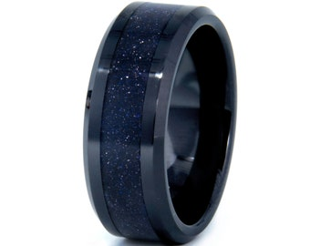 Blue Goldstone Ring, Starry Night Appearance   Black Ceramic Wedding Band   Blue Sandstone Ring   Stars In Night Sky Appearance