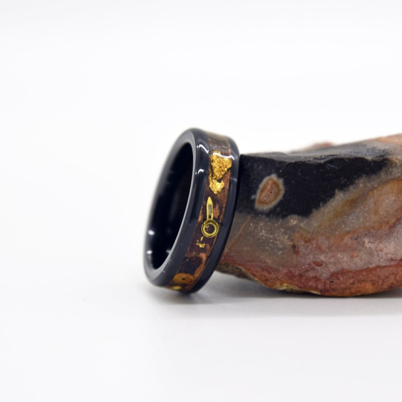 Steampunk Ring Copper Patina Ring 24KT Gold Leaf Patinated Copper And Black Ceramic Band Gears And Mechanical Parts