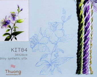 """Embroidery KIT EK04: """"Blue Wildflowers"""" - Shiny Synthetic Silk Thread, Colour Variations Thread, Raw Linen Fabric - Thuong Embroidery"""