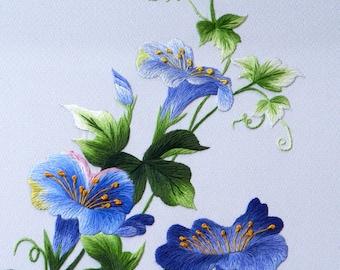DOWNLOAD FILE (EK02) Blue Wildflowers embroidery design, Hand embroidery pattern, Hand embroidery designs