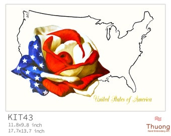 """Embroidery KIT EK43: """"Roses and USA Map"""" - 02 Options Synthetic Silk Thread or Cotton Thread / Linen Fabric / Country Embroidery Pattern"""