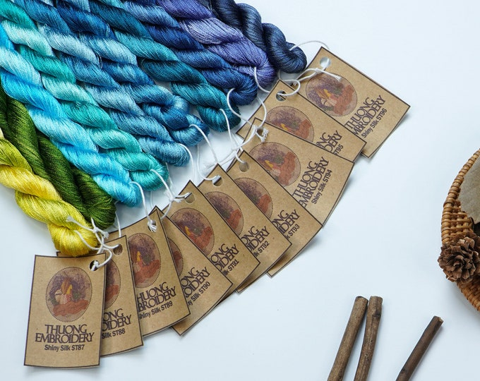 Colour 10 Set - Shiny Synthetic Silk  Embroidery Thread - 30-yard skeins and 60-yard skeins