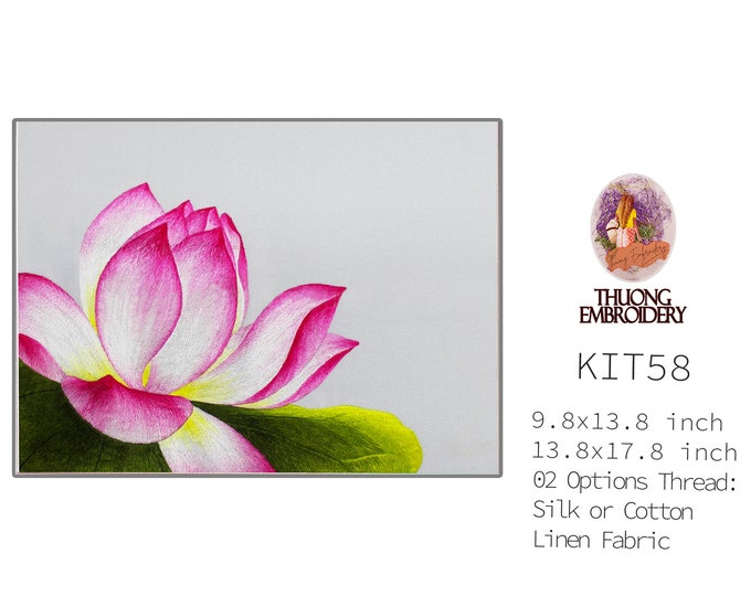 """Embroidery KIT EK58: """"Lotus Design"""" - 02 Options Synthetic Silk Thread or Cotton Thread / Linen Fabric / Embroidery Pattern"""