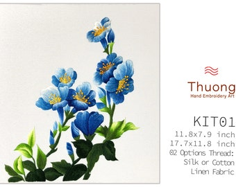"""Embroidery KIT EK01: """"Blue Wildflowers"""" - 02 Options Synthetic Silk Thread or Cotton Thread / Linen Fabric / Flower Embroidery Pattern"""