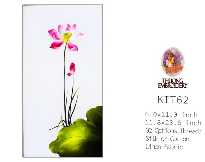 """Embroidery KIT EK62: """"Lotus Design"""" - 02 Options Synthetic Silk Thread or Cotton Thread / Linen Fabric / Embroidery Pattern"""