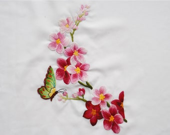 Hand Embroidery Art - HEB08-No frame: Butterflies and Orchids