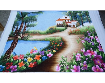 """Vietnamese hand embroidery - HEB25 - """"Wild flower house"""" - No have frame"""