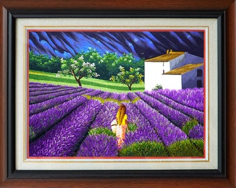 """Hand Embroidery Art - """"Purple Lavender Hill"""" - Thuong Hand Embroidery Art"""