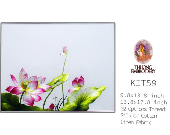 """Embroidery KIT EK59: """"Lotus Design"""" - 02 Options Synthetic Silk Thread or Cotton Thread / Linen Fabric / Embroidery Pattern"""