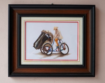 """Hand Embroidery Painting - HEB07 with Wooden Frame: """"The Cyclo"""""""