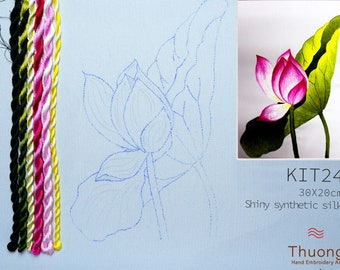 """Embroidery KIT EK24: """"Wildflowers"""" - Shiny Synthetic Silk Thread, Colour Variations Thread, Raw Linen Fabric - Thuong Embroidery"""