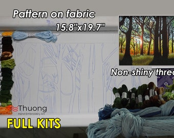 """Embroidery Kit EK27: """"Sunbeams through woods"""" - Cotton thread, Raw linen fabric - Thuong Embroidery"""
