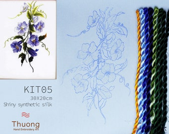 """Embroidery KIT EK05: """"Blue Wildflowers"""" - Shiny Synthetic Silk Thread, Colour Variations Thread, Raw Linen Fabric - Thuong Embroidery"""