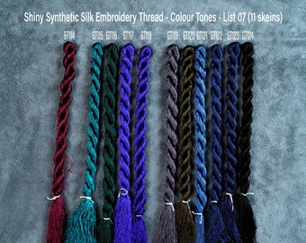 147 Colors Embroidery Thread  (List 03) - Glossiest Synthetic Silk Embroidery Thread - Colour Tones Thread - Thuong Embroidery
