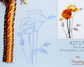 """Embroidery KIT EK17: """"Wildflowers"""" - Shiny Synthetic Silk Thread, Colour Variations Thread, Raw Linen Fabric - Thuong Embroidery"""