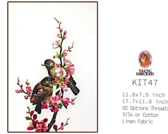 """Embroidery KIT EK47: """"Blooming peach blossoms"""" - 02 Options Synthetic Silk Thread or Cotton Thread / Linen Fabric / Embroidery Pattern"""