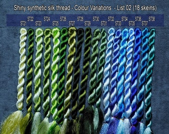 Colour 18 Set - Shiny Synthetic Silk  Embroidery Thread - 30-yard skeins and 60-yard skeins