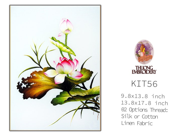 """Embroidery KIT EK56: """"Lotus Design"""" - 02 Options Synthetic Silk Thread or Cotton Thread / Linen Fabric / Embroidery Pattern"""