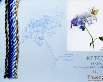 """Embroidery KIT(EK03): """"Blue Wildflowers"""" - Shiny Synthetic Silk Thread, Colour Variations Thread, Raw Linen Fabric - Thuong Embroidery"""