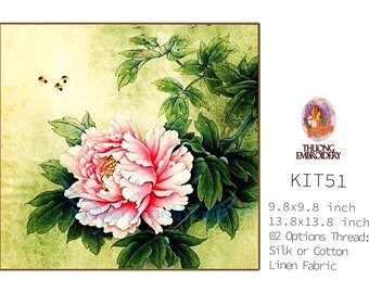 """Embroidery KIT EK51: """"Peony"""" - 02 Options Synthetic Silk Thread or Cotton Thread / Linen Fabric / Embroidery Pattern"""