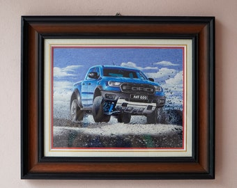 """Hand Embroidery Painting - HEB03 with Wooden Frame: """"Ford Raptor"""""""