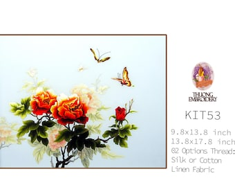 """Embroidery KIT EK53: """"Peony"""" - 02 Options Synthetic Silk Thread or Cotton Thread / Linen Fabric / Embroidery Pattern"""