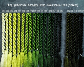 147 Colors Embroidery Thread  (List 01) - Glossiest Synthetic Silk Embroidery Thread - Colour Tones Thread - Thuong Embroidery
