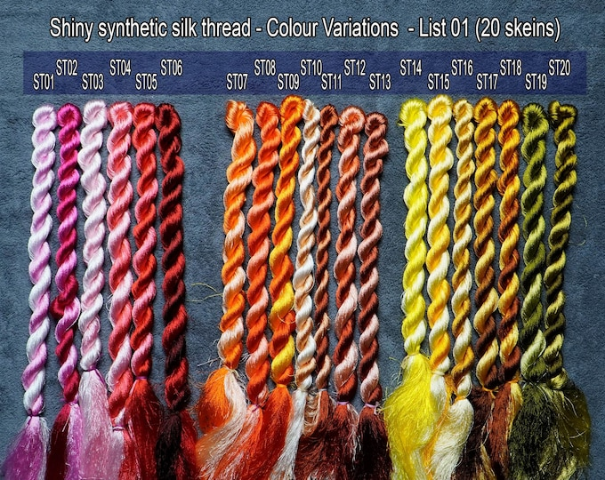 Colour 20 Set - Shiny Synthetic Silk  Embroidery Thread - 30-yard skeins and 60-yard skeins