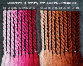 147 Colors Embroidery Thread  (List 02) - Glossiest Synthetic Silk Embroidery Thread - Colour Tones Thread - Thuong Embroidery