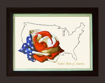 Custom Embroidery CE106 / Flower & Country Map Hand Embroidery Pattern / Embroidery Art / DIY Embroidery