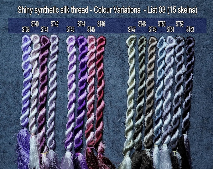 Colour 15 Set - Shiny Synthetic Silk  Embroidery Thread - 30-yard skeins and 60-yard skeins
