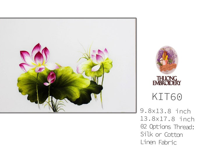 """Embroidery KIT EK60: """"Lotus Design"""" - 02 Options Synthetic Silk Thread or Cotton Thread / Linen Fabric / Embroidery Pattern"""