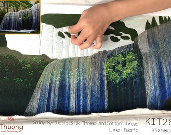 """Embroidery KIT EK28: """"Blue Waterfall"""" - Use both types """"Glossy silk and cotton thread"""", Raw linen fabric - Thuong Embroidery"""