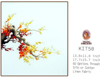 """Embroidery KIT EK50: """"Blooming peach blossoms"""" - 02 Options Synthetic Silk Thread or Cotton Thread / Linen Fabric / Embroidery Pattern"""