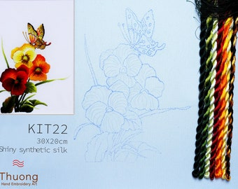 """Embroidery KIT EK22: """"Wildflowers"""" - Shiny Synthetic Silk Thread, Colour Variations Thread, Raw Linen Fabric - Thuong Embroidery"""