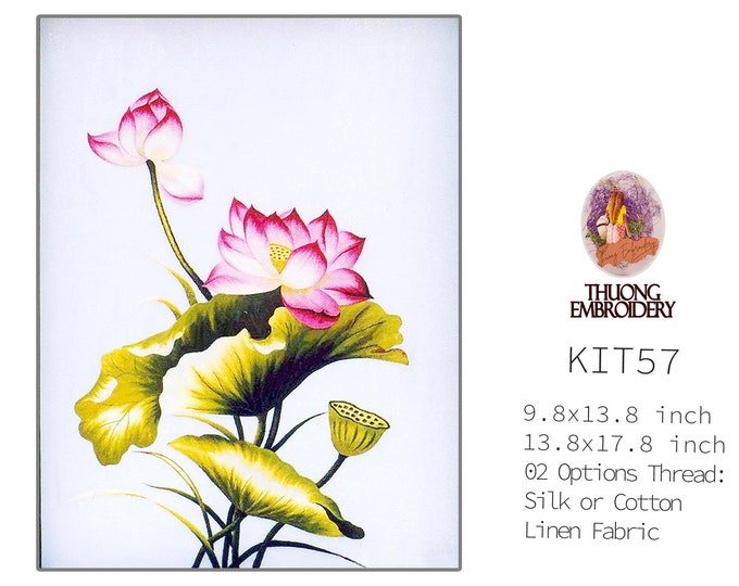 """Embroidery KIT EK57: """"Lotus Design"""" - 02 Options Synthetic Silk Thread or Cotton Thread / Linen Fabric / Embroidery Pattern"""