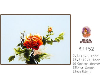 """Embroidery KIT EK52: """"Peony"""" - 02 Options Synthetic Silk Thread or Cotton Thread / Linen Fabric / Embroidery Pattern"""
