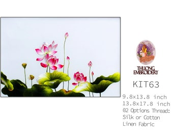 """Embroidery KIT EK63: """"Lotus Design"""" - 02 Options Synthetic Silk Thread or Cotton Thread / Linen Fabric / Embroidery Pattern"""