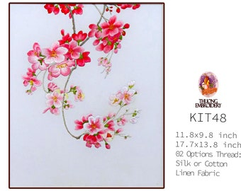 """Embroidery KIT EK48: """"Blooming peach blossoms"""" - 02 Options Synthetic Silk Thread or Cotton Thread / Linen Fabric / Embroidery Pattern"""