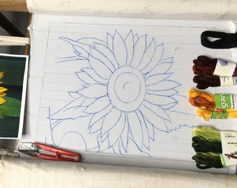 """Embroidery KIT EK26: """"Sunflower"""" - 2 0ptions """"Glossy silk thread and low-gloss cotton thread"""", Raw linen fabric - Thuong Embroidery"""