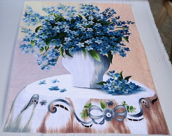 """Embroidery designs 100% by Hand in Vietnam -HEB26- """"Wild Blue Phlox Flowers"""" embroidery painting - Hand Embroidery Art"""
