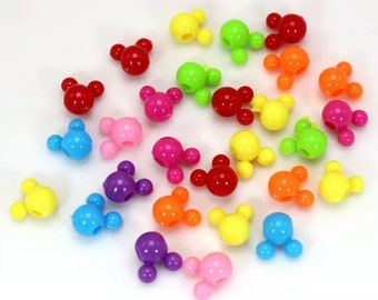 SET OF 50 12mm Colorful Mickey Mouse Bead, Mouse Bead, Bubblegum Bead, Craft Supply, DIY, Multicolored Bead, Mixed Color Beads
