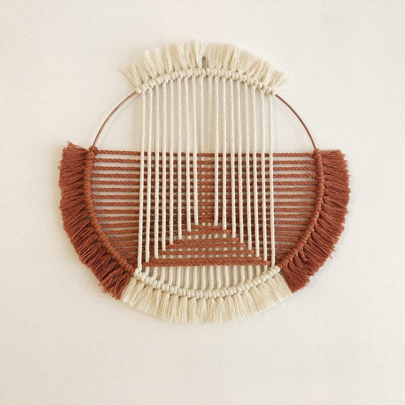 Model Ubud  Terracotta and ecru  Macramé weaving on metal image 0
