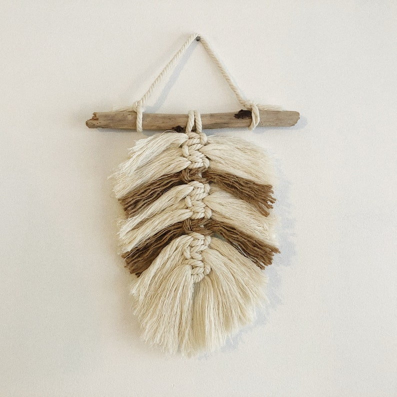 Model Gili  Ecru and brown  Macramé feather on driftwood image 0