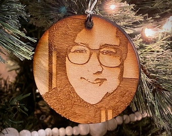 Custom photo engraving wooden Christmas ornament
