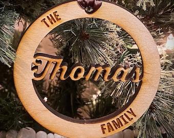 Custom family name wooden Christmas ornament
