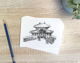 Temples of Japan Stationery Set- Folded Notecards with Artwork