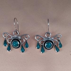 Earrings soutache ethnic Milky/&Turquoise hand embroidered earrings earrings boho turquoise gift for woman soutache technique