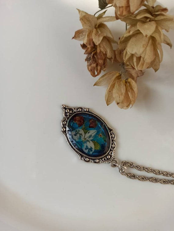 and alcohol inkgift for her Resin necklaceblue resin pendantresin jewelryblue resin necklacehandmade from epoxy resin
