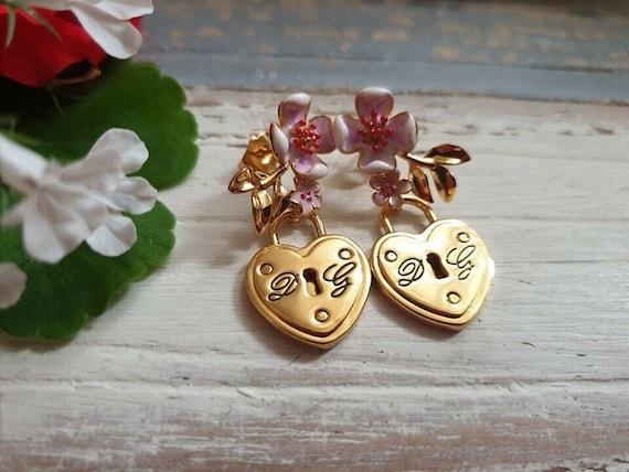 Dolce & Gabbana Floral Padlock Heart Earrings